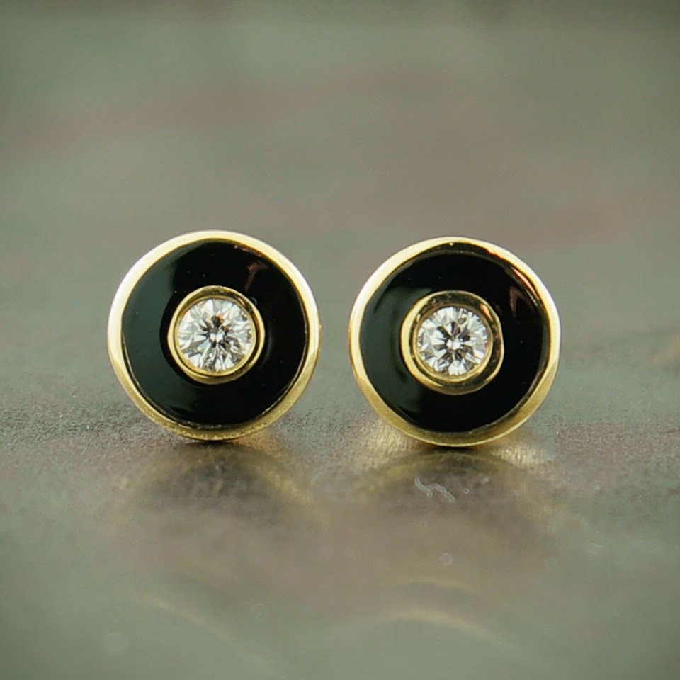 14K Yellow Gold Diamond & Enamel Stud Earrings