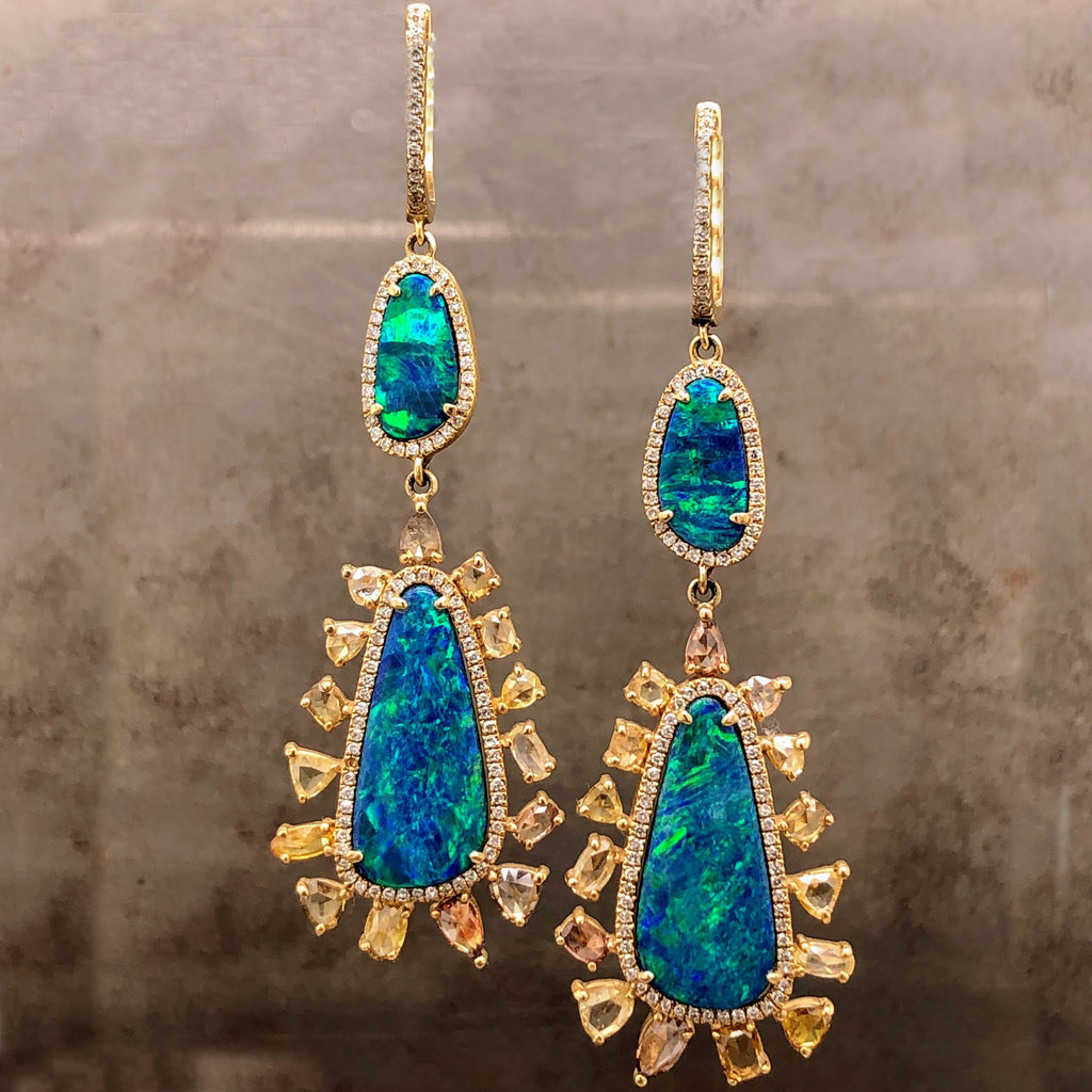 14k Yellow Gold Earrings with Black Opal and Diamonds