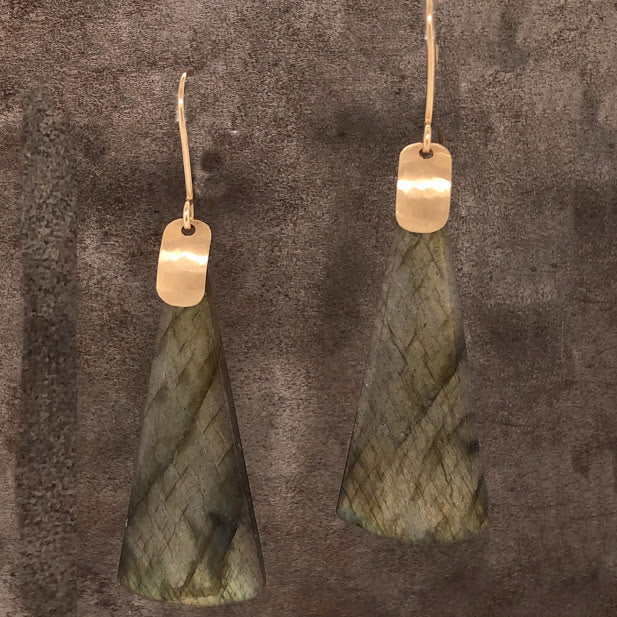 Triangular Labradorite Earrings