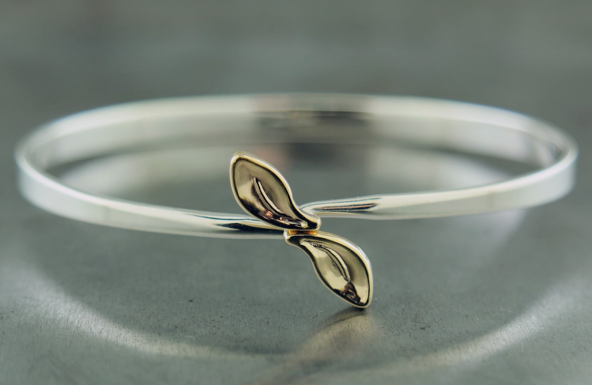 Sterling Silver Yellow Gold Leaf Bracelet