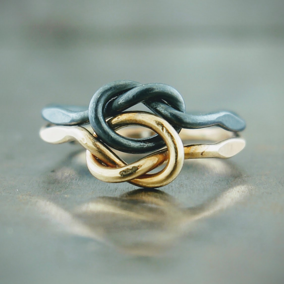 14k Yellow Gold Oxidized Sterling Silver Love Knot Ring