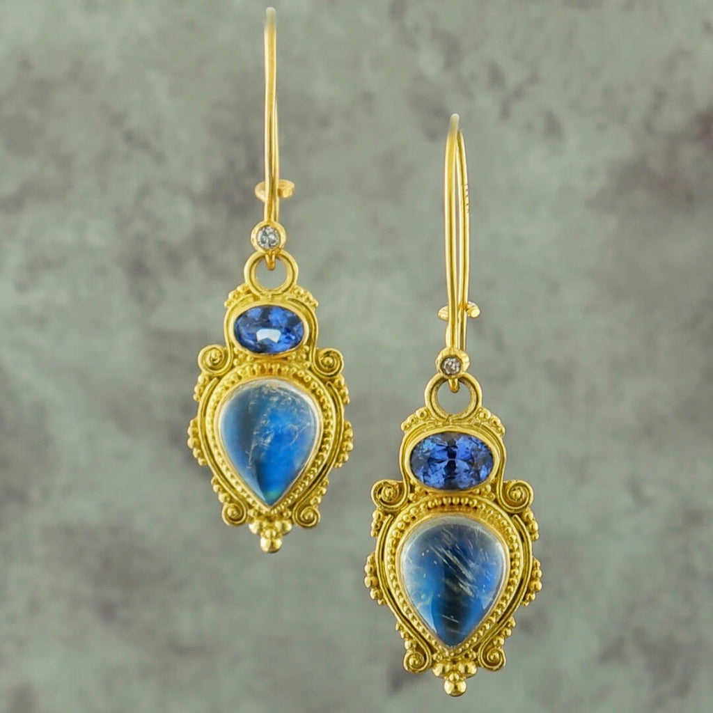 18k Yellow Gold Moonstone Sapphire and Diamond Earrings
