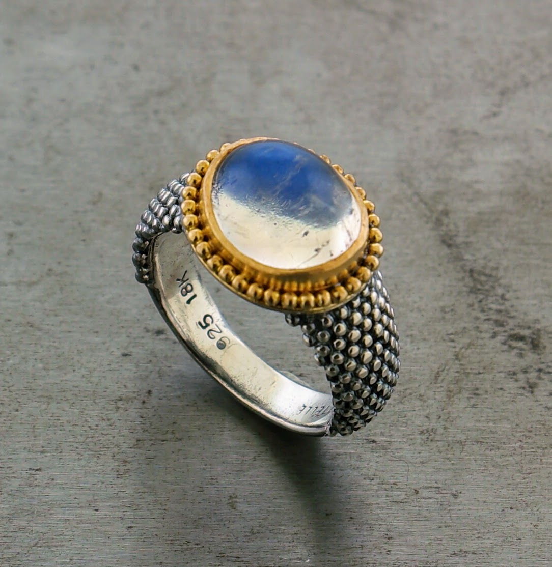 Sterling Silver 18k Yellow Gold Moonstone Ring