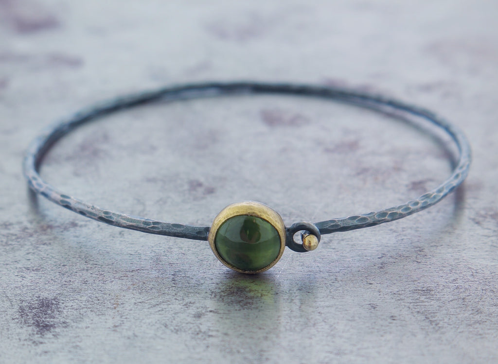 Oxidized Sterling Silver 18k Yellow Gold Peridot Bracelet