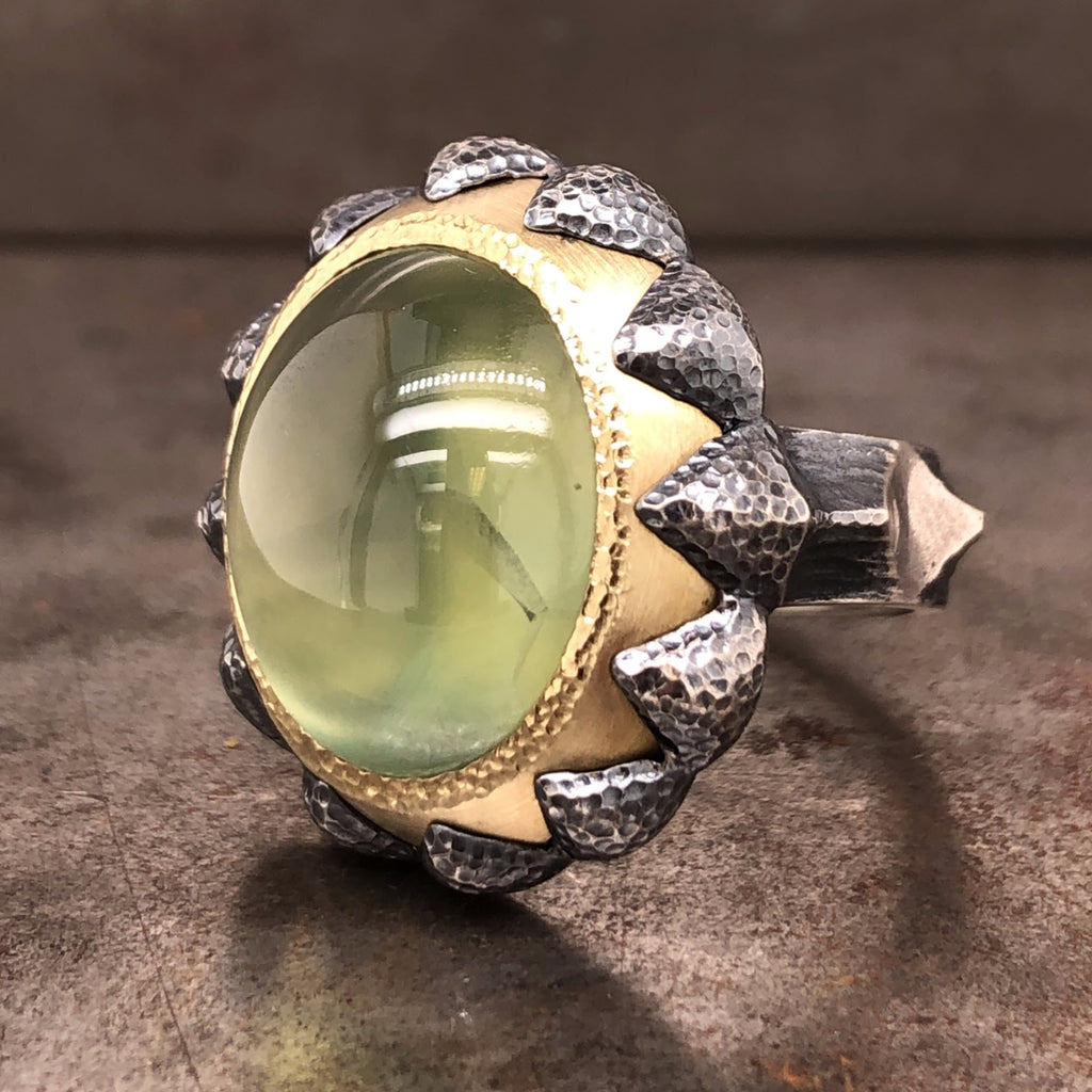Prehnite Gold and Oxidized Sterling Silver Ring