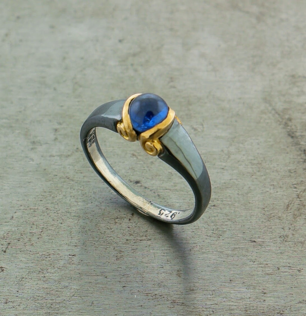 Sapphire Oxidized Sterling Silver 18k Yellow Gold Ring