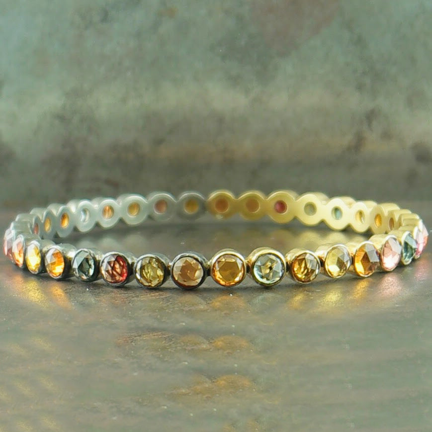18K Yellow Gold Oxidized Sterling Silver Sapphire Bracelet