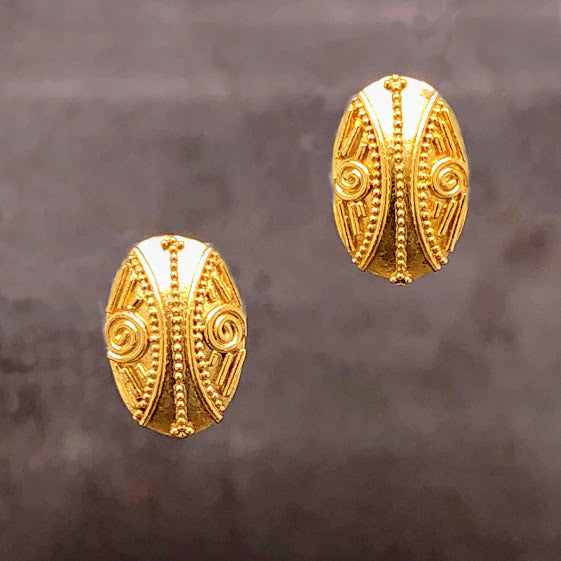 18K Yellow Gold Shield Post Studs