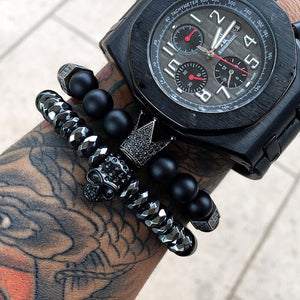 2 Pcs/Set Black Titanium Skull & Crown Bracelet
