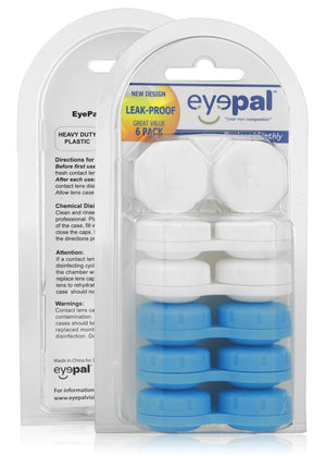 eyepal vision, contact lenses cases 6 pack blue and white