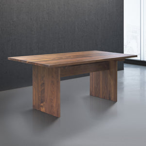 long wooden farmhouse dining table for 8 in walnut wood