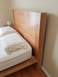 handmade cherry wood minimalist head board and bed frame