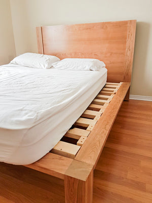 cherry wood queen bed frame with headboard