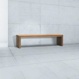 long minimalist wooden walnut bench with simple u legs for behind couch