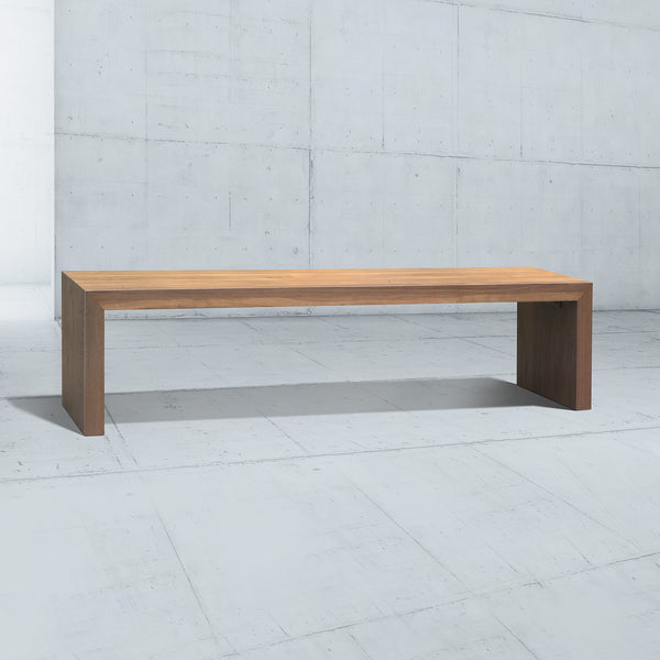 long minimalist wooden bench with simple u legs