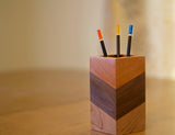 Wood Pencil Holder in Mahogany, Walnut and Cherry Wood