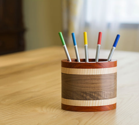 oval custom made striped wood pencil holder for desk
