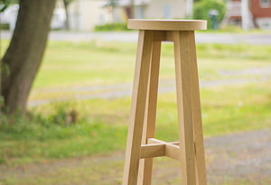 tall wooden oak bar stools with round seat