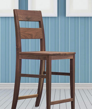 walnut wood chair stool with back with leg rest