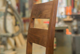 side view of walnut wood chair stool with back