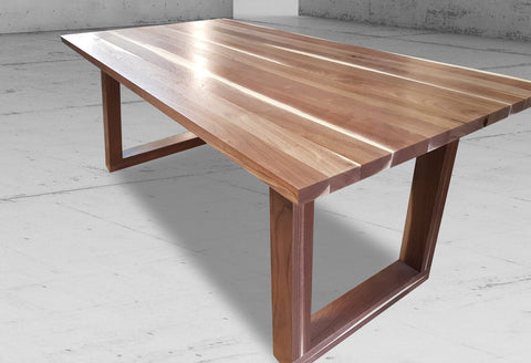 handmade walnut wood dining table with u legs