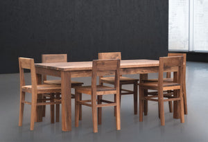 Wood Dining Table and Chair Set in Walnut