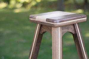Wood Counter Stool in Maple and Walnut Wood