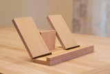 light birch wood iPad holder on desk