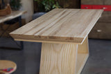 custom rectangle pedestal craftsman dining table with trapezoid legs in maple