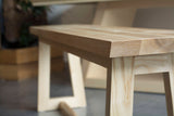 light wooden bench for kitchen side view