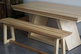 Custom Made Wooden Long Pedestal Dining Table with Bench