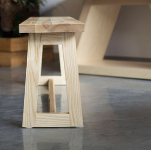small light wooden seating bench for kitchen
