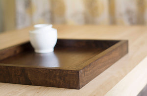 wooden square Ottoman Tray in Dark Walnut