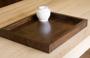handless square wooden tray for ottoman
