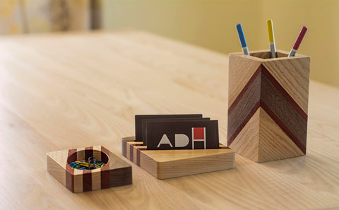 3-Piece Wood Desk Accessories Set in Walnut and Pakauk