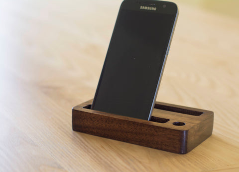 Wooden Double iPhone Stand in Walnut