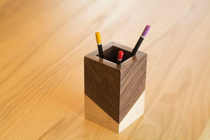 short walnut wood square pen holder for desk