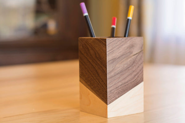 dark walnut wood square pen holder for desk