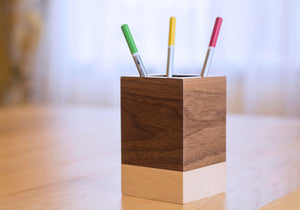 short dark walnut two tone square pencil holder