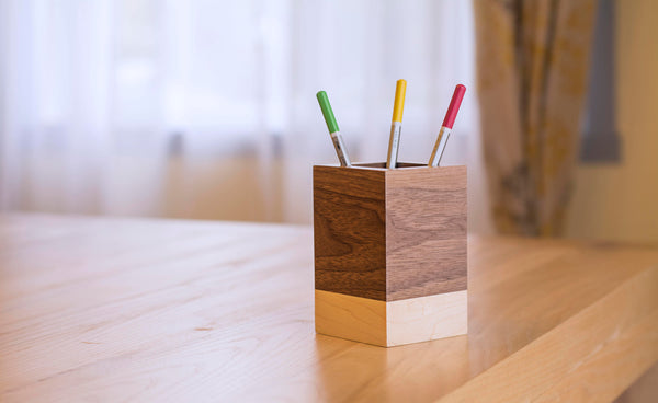 maple walnut stripe pencil holder for home desk