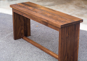 minimalist dark wood dining bench