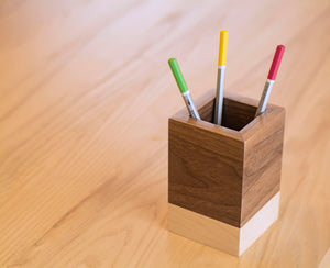 maple dark walnut two tone square pencil holder on desk with pencils