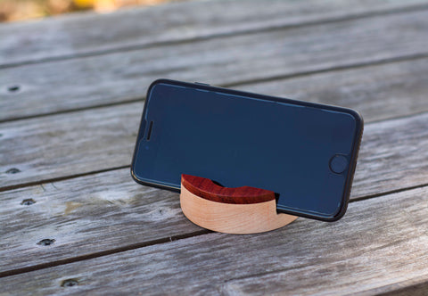 Wooden iPhone Stand in Padauk and Maple