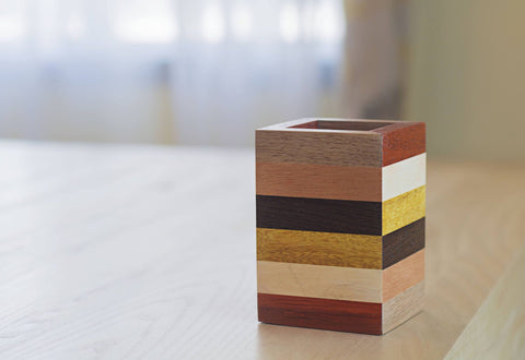 color block striped wooden pencil holder for office