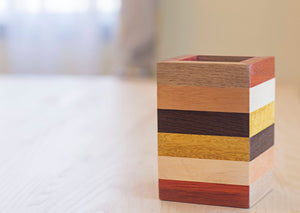 color block striped wooden pencil holder for office handmade