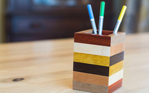 Wood Pencil Holder in Padauk, Maple, Movingui, Wenge, Walnut & Mahogany