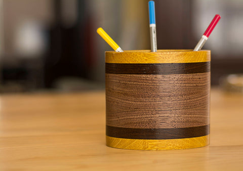 Oval Wood Pencil Holder in Movingui, Walnut and Wenge