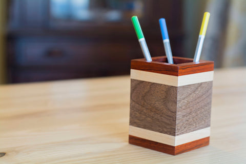 Wood Pencil Holder in Padauk, Maple and Walnut