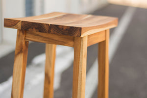 Teak Stool - Outdoor Counter Stool Backless and Handmade from Plantation Teak, Great for Your Outdoor Bar