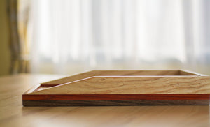maple wood paper tray on desk